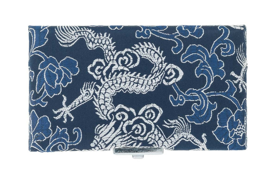 4-Reed Oboe Reed Cases with clips by Oboes.ch - Blue with Silver Dragon Design