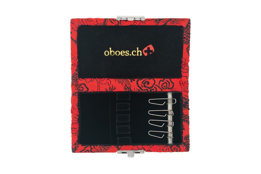 4-Reed Oboe Reed Cases with clips by Oboes.ch - Red with Black Dragon Design
