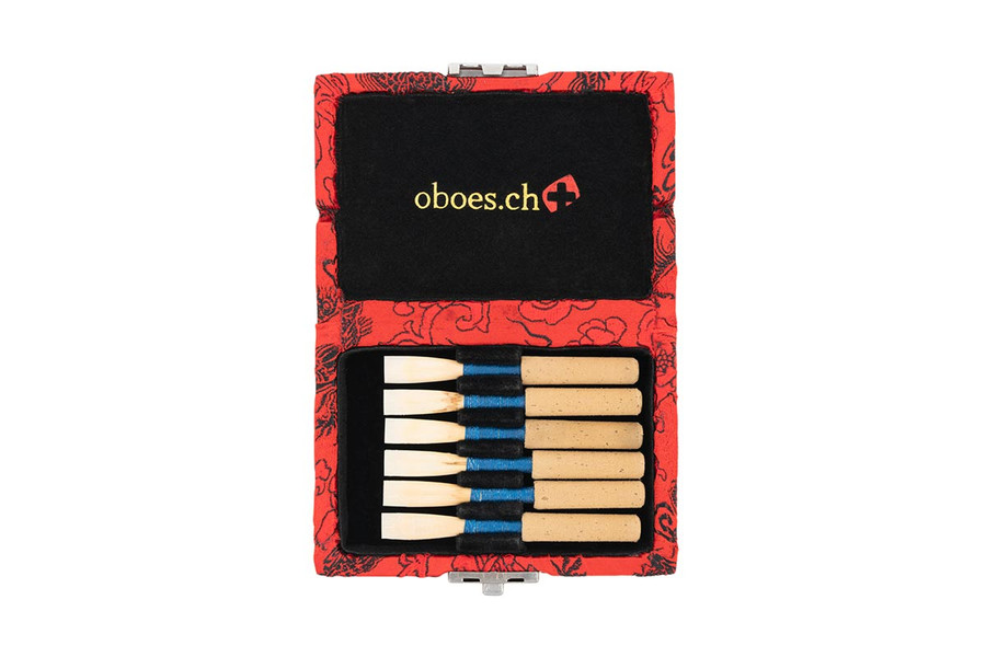 6-Reed Oboe Reed Case - Red with Black Dragon Design