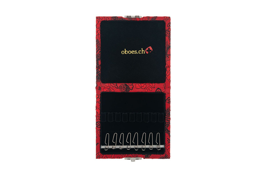 8-Reed Oboe Reed Case by Oboes.ch with clips - red with black dragon silk