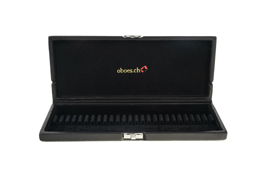 25-Reed Oboe Reed Case, Black Leather by Oboes.ch