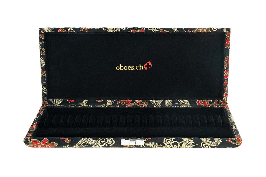 25-Reed Oboe Reed Case, Silk by Oboes.ch - Black with Gold Dragon Design