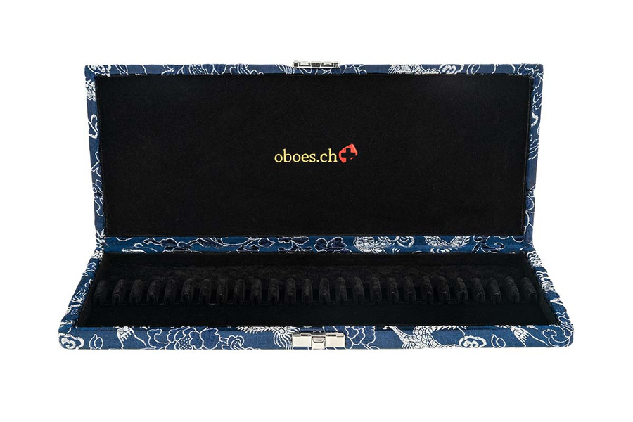 25-Reed Oboe Reed Case, Silk by Oboes.ch - Blue with Silver Dragon Design