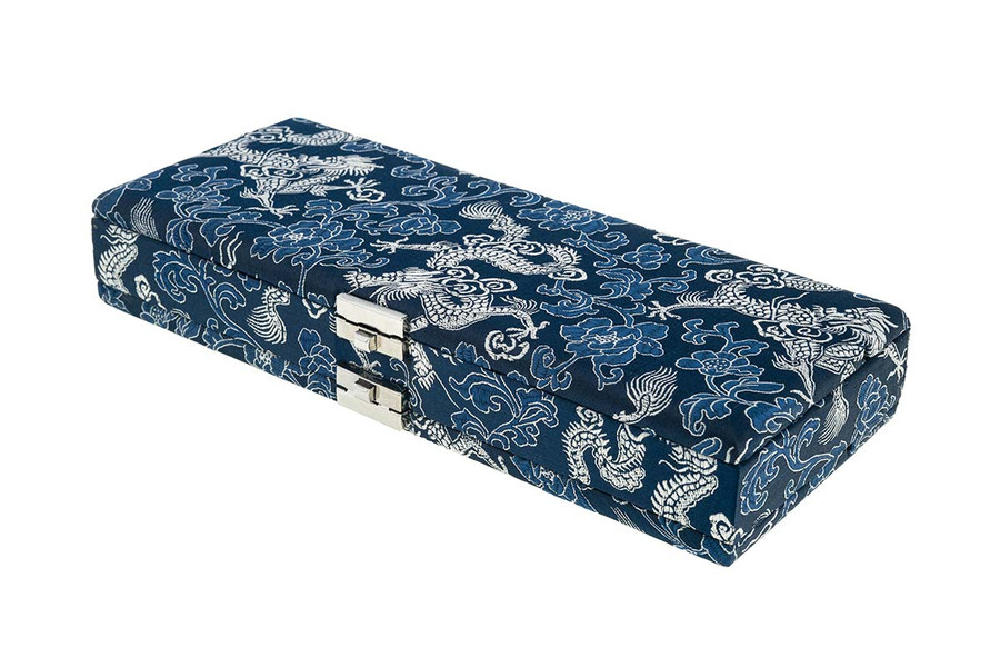 50-reed oboe reed case by oboes.ch - Silk Blue with Silver Dragon Design