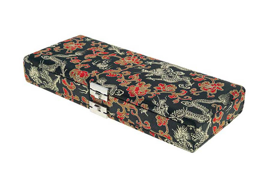 50-reed oboe reed case by oboes.ch - Silk Black with Gold Dragon Design