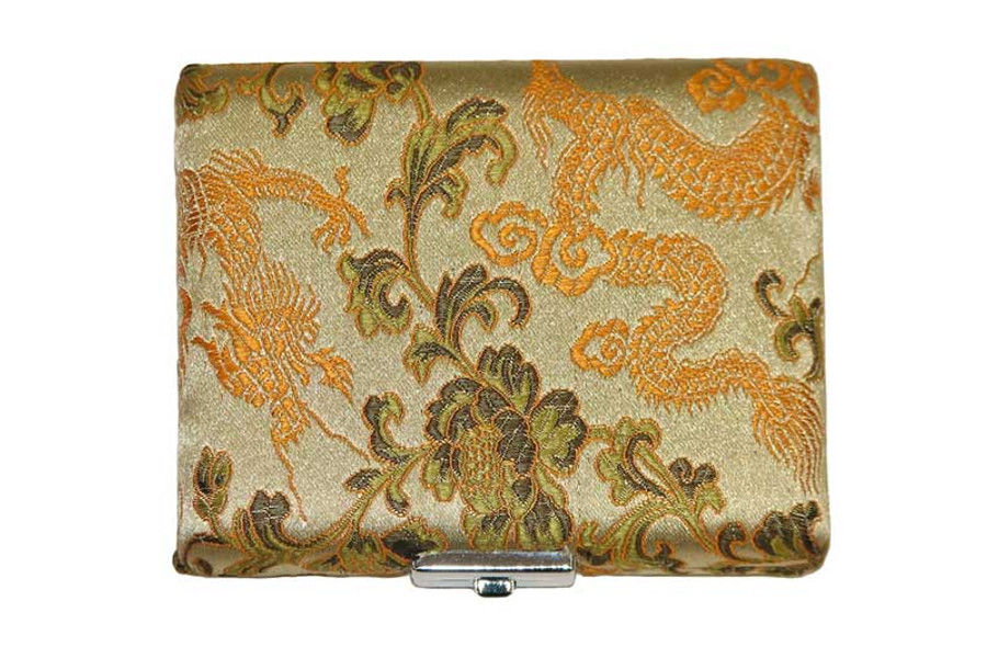 6 Tenor Sax Reed Case Silk Double Sided, Gold with Orange Dragon Design