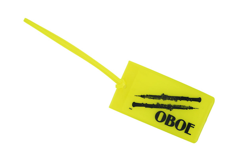 Oboe soft rubber ID Tag - Yellow