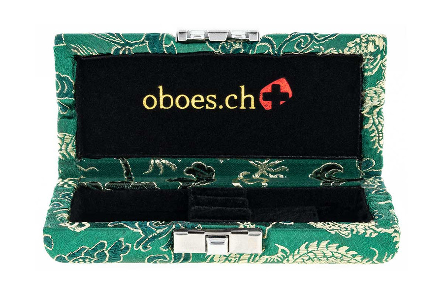 Oboes.ch 3-reed oboe reed case - Green with Gold Dragon Design