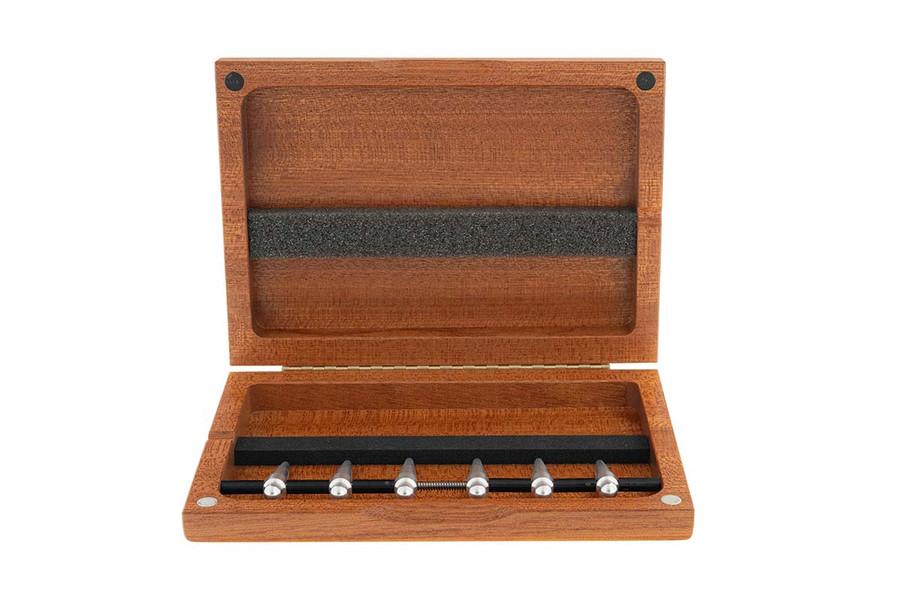 6-Reed Bassoon Reed Case with mandrel tips, Mahogany