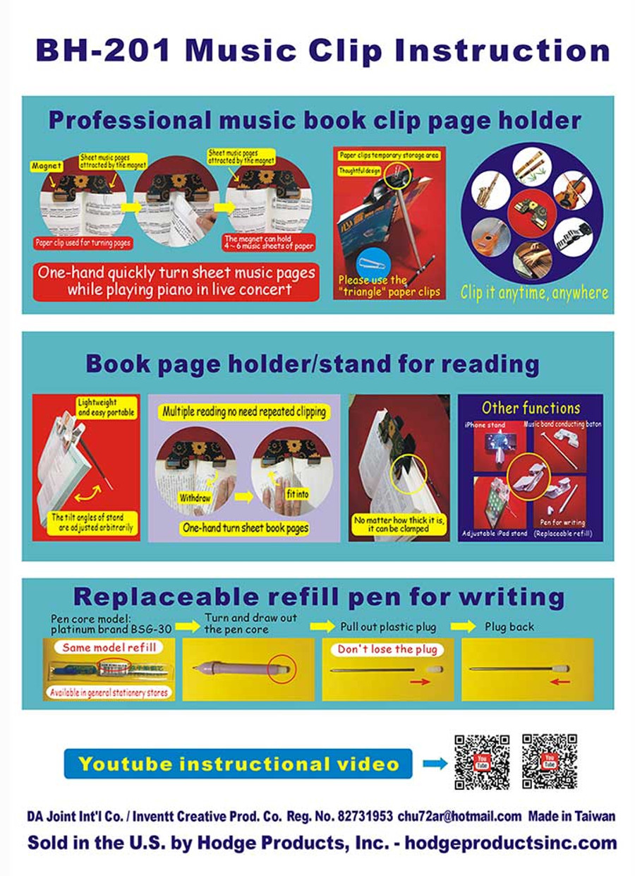 Music/Book Clip Instructions