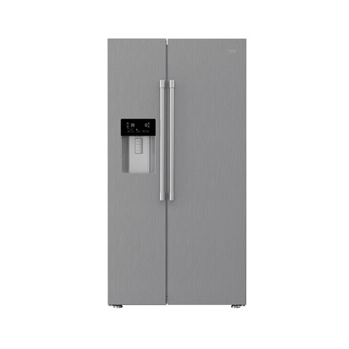 """Beko 36"""" Side by Side Stainless Steel Refrigerator with Auto Ice and Water Through the Door"""