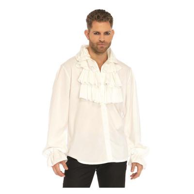 Men's Ruffle Front Shirt - White