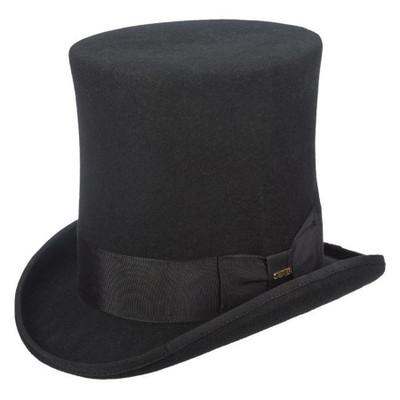 """Wool Felt Black Top Hat - 8"""" Crown"""