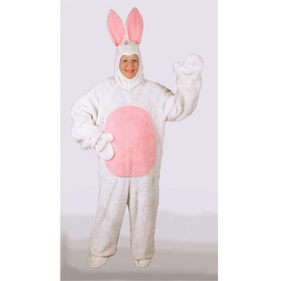 Adult Bunny Suit with Mascot Head - White