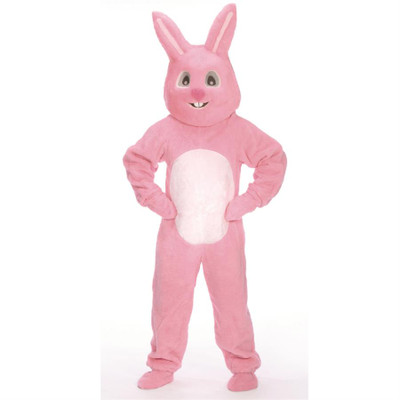 Adult Bunny Suit with Mascot Head - Pink
