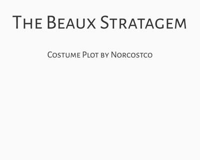 The Beaux Stratagem Costume Plot   by Norcostco