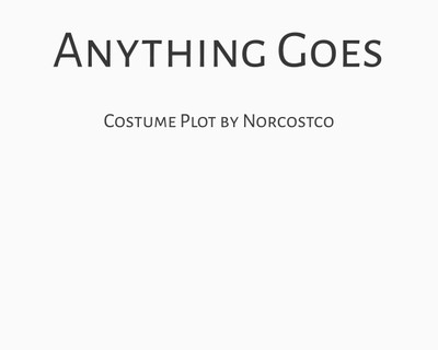 Anything Goes Costume Plot | by Norcostco