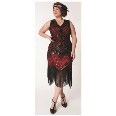 Veronique Plus Flapper Dress - Red