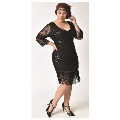 Margaux Plus Flapper Dress - Black