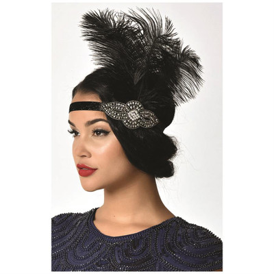 Beaded Premium Flapper Headband with Feather