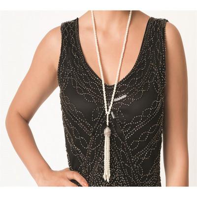 Premium Flapper Beads - Pearl, Tassel Pendant
