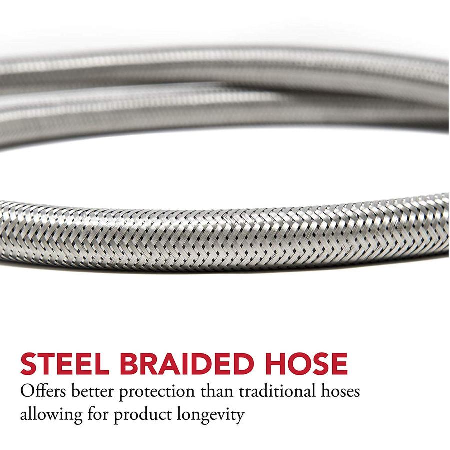 1 PSI Propane Regulator with Steel Braided Hose 5 ft