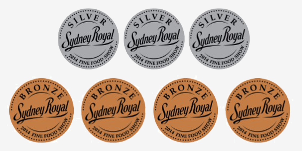 Awarded 7 medals (3 Silver and 4 Bronze) at the Sydney Royal Fine Food Awards