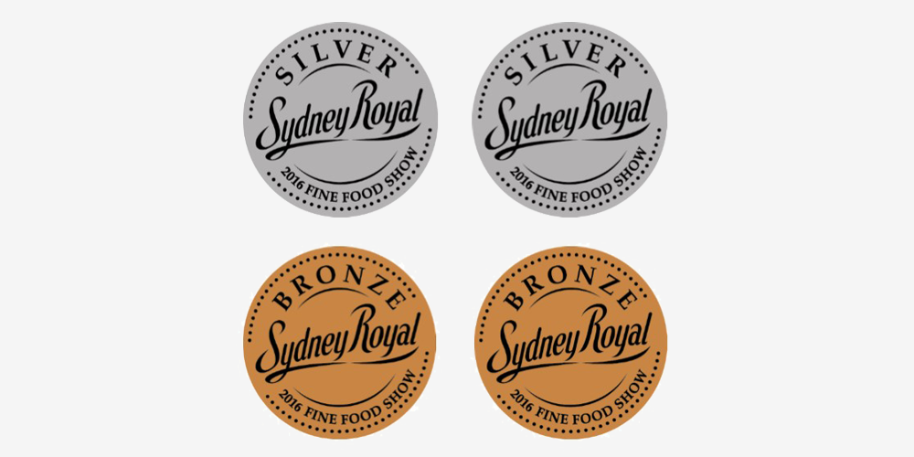 Awarded 4 medals (2 Silver and 2 Bronze) at the Sydney Royal Fine Food Awards.