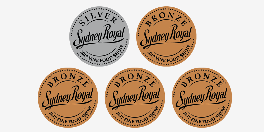 Awarded 5 medals (1 Silver and 4 Bronze) at the Sydney Royal Fine Food Awards.