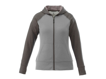 Heather Grey/Heather Dark Charcoal Elevate 98131 Anshi Women's Knit Full Zip Hoodie