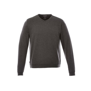 Heather Dark Charcoal - 18614 Bromley Men's Knit V-Neck Sweater