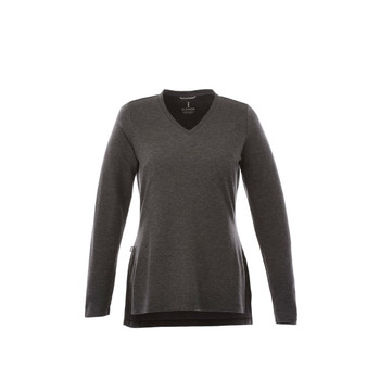 Heather Dark Charcoal - 98614 Bromley Women's Knit V-Neck Sweater