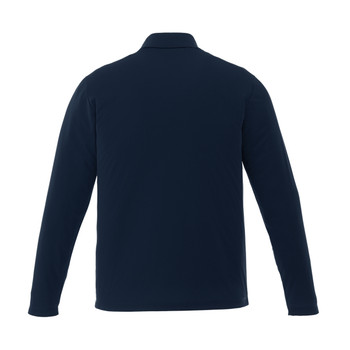 Navy, Back - 16255T Mori Men's Long Sleeve Tall Polo Shirt