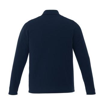 Navy, Back - 16255T Mori Men's Long Sleeve Tall Polo Shirt