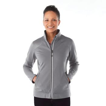 Steel Grey, Model - Elevate 98154 Senger Knit Jacket   imprintables.ca