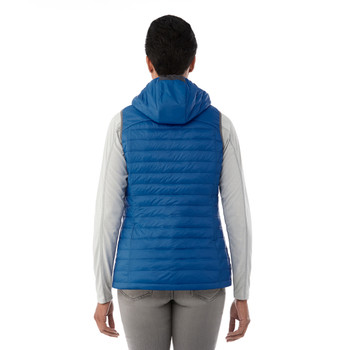Olympic Blue, Model Back - Elevate 99556 Women's Junction Packable Insulated Vest | imprintables.ca