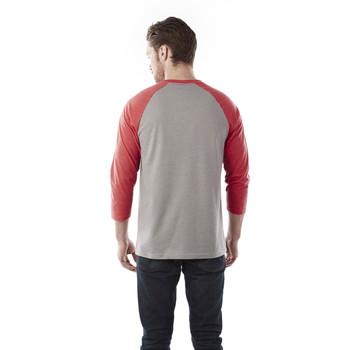 Team Red Heather/Medium Heather Grey, Back - Elevate 17814 Dakota Three Quarter T-Shirt | imprintables.ca