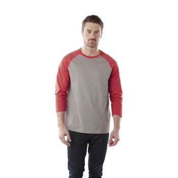 Team Red Heather/Medium Heather Grey - Elevate 17814 Dakota Three Quarter T-Shirt | imprintables.ca