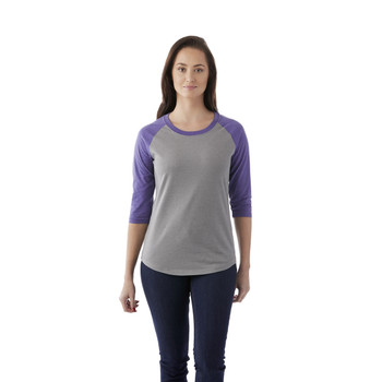 Purple Heather/Medium Heather Grey, Model - Elevate 97814 Women's Dakota Quarter T-Shirt | imprintables.ca