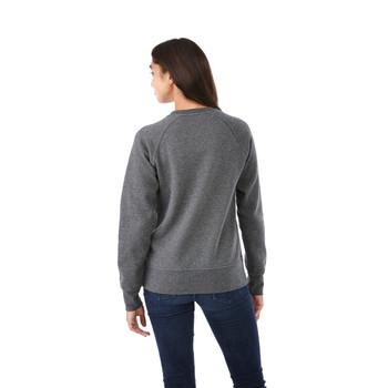 Heather Dark Charcoal, Model Back - Elevate 98408 Women's Kruger Fleece Crew Sweater | imprintables.ca