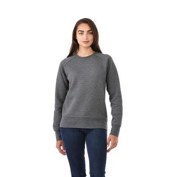 Heather Dark Charcoal, Model - Elevate 98408 Women's Kruger Fleece Crew Sweater | imprintables.ca