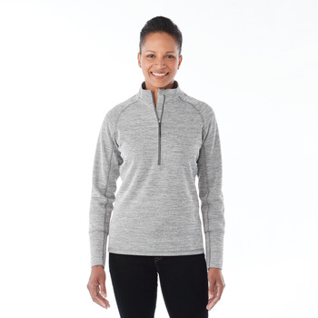 Heather Charcoal, Model - Elevate 98305 Women's Crane Knit Half Zip Sweater | imprintables.ca