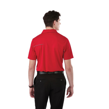 Team Red/Steel Grey, Model, Back - 16309 Elevate Wilcox Short Sleeve Polo Shirt | imprintables.ca