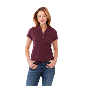 Maroon Heather, Model - 96611 Elevate Women's Concord Short Sleeve Polo Shirt | imprintables.ca