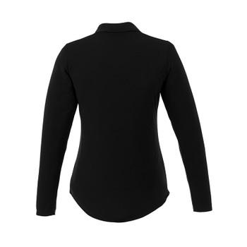 Black - Back, 96255 Elevate Women's Mori Long Sleeve Polo Shirt | imprintables.ca