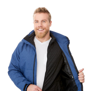 Metro Blue Heather - Model, 19305 Elevate Delamar 3-in-1 Jacke | Imprintables.ca