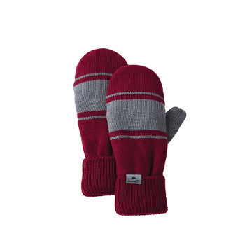 Dark Red/Quarry - 45110 Roots73 Unisex Hemlock Knit Mitts | Imprintables.ca