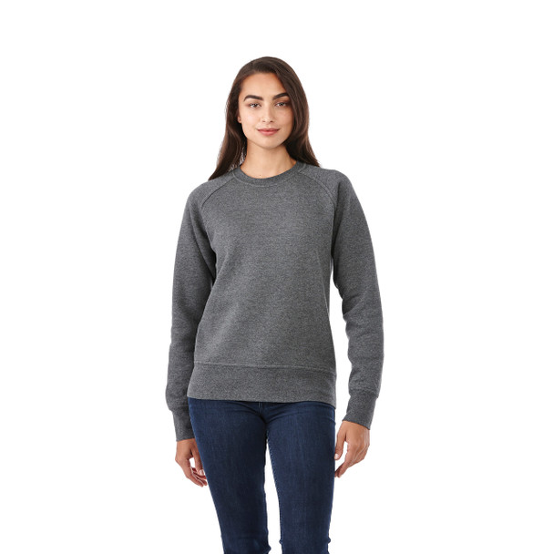 Heather Dark Charcoal, Model - Elevate 98408 Women's Kruger Fleece Crew Sweater | imprintables.ca