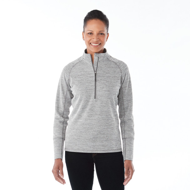Heather Charcoal, Model - Elevate 98305 Women's Crane Knit Half Zip Sweater | imprintables.ca
