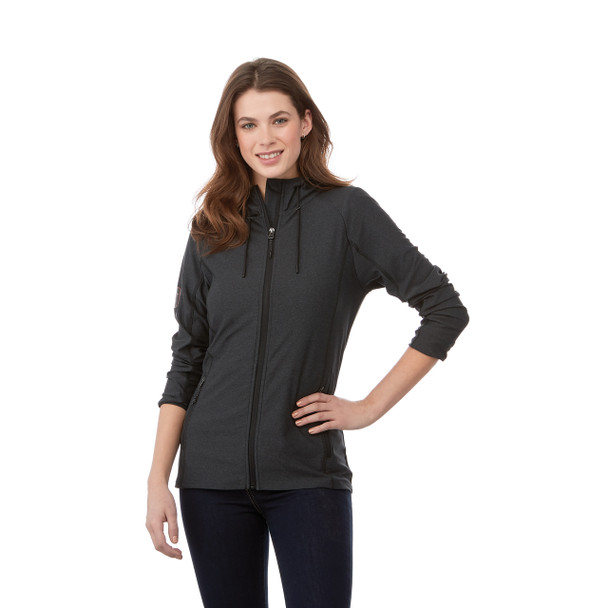Black Smoke Heather, Model - 98212 Elevate Women's Kaiser Knit Jacket | Imprintables.ca